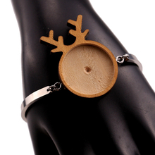 Fit 25mm Christmas Deer Blank Wood Cabochon Stainless Steel Bracelet Base Settings Diy Cuff Bangle Bezel Trays Jewelry Making 10pcs fit 25mm stainless steel cabochon base diy blank cameo pendant bezel settings diy jewelry necklace trays