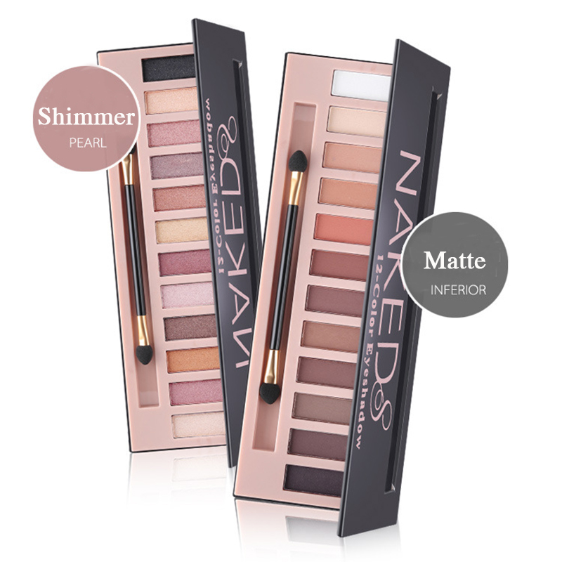 Brand 12 Colors Shimmer Matte Nude Eyeshadow Makeup Palette Pigmented Long Lasting Eye Shadow Natural Eyes Cosmetics With Brush(China)