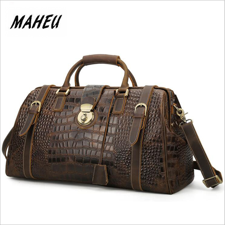 MAHEU Genuine Leather Mens Travel Bag Alligator Strip Real Leather Overnight Weekend Bag Large Capacity Men Hand Luggage Bagleather travel bagbag large capacityweekend bag -