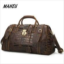 MAHEU Genuine Leather Mens Travel Bag Alligator Strip Real Leather Overnight Weekend Bag Large Capacity Men Hand Luggage Bag