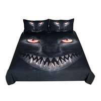 Free shipping children 3d printing black cat bedding set 1pc duvet cover&2pcs pillow cases animal home textile