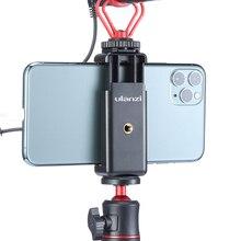 Suporte de telefone ulanzi ST 07 vlog, com sapato frio, para microfone, luz led universal, parafuso de 1/4, montagem de celular