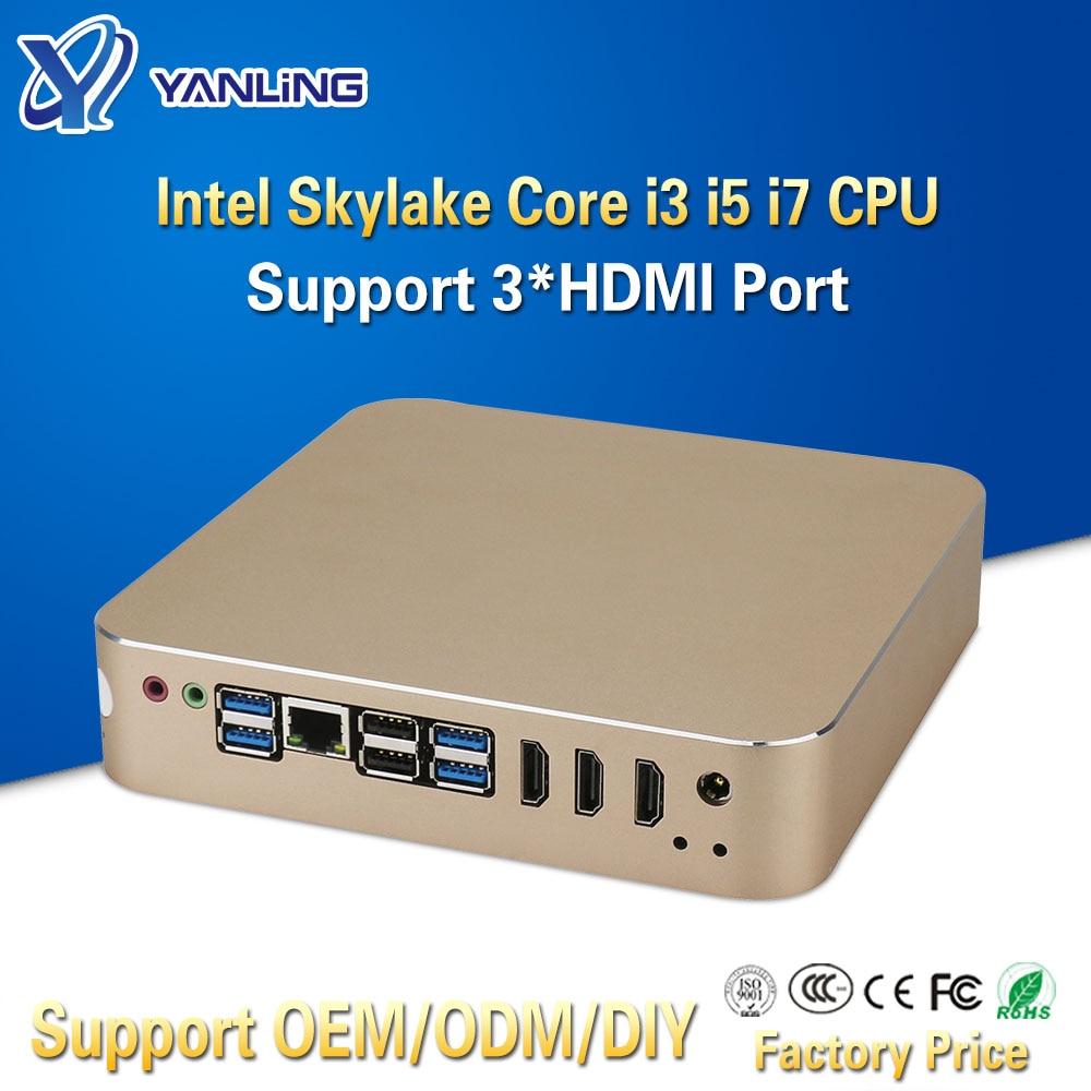 Yanling High Quality Mini Computer Intel H110 Motherboard Core I3 6100 I5 6500 I7 6700 3*HDMI Display Port Linux 4K TV Box PC
