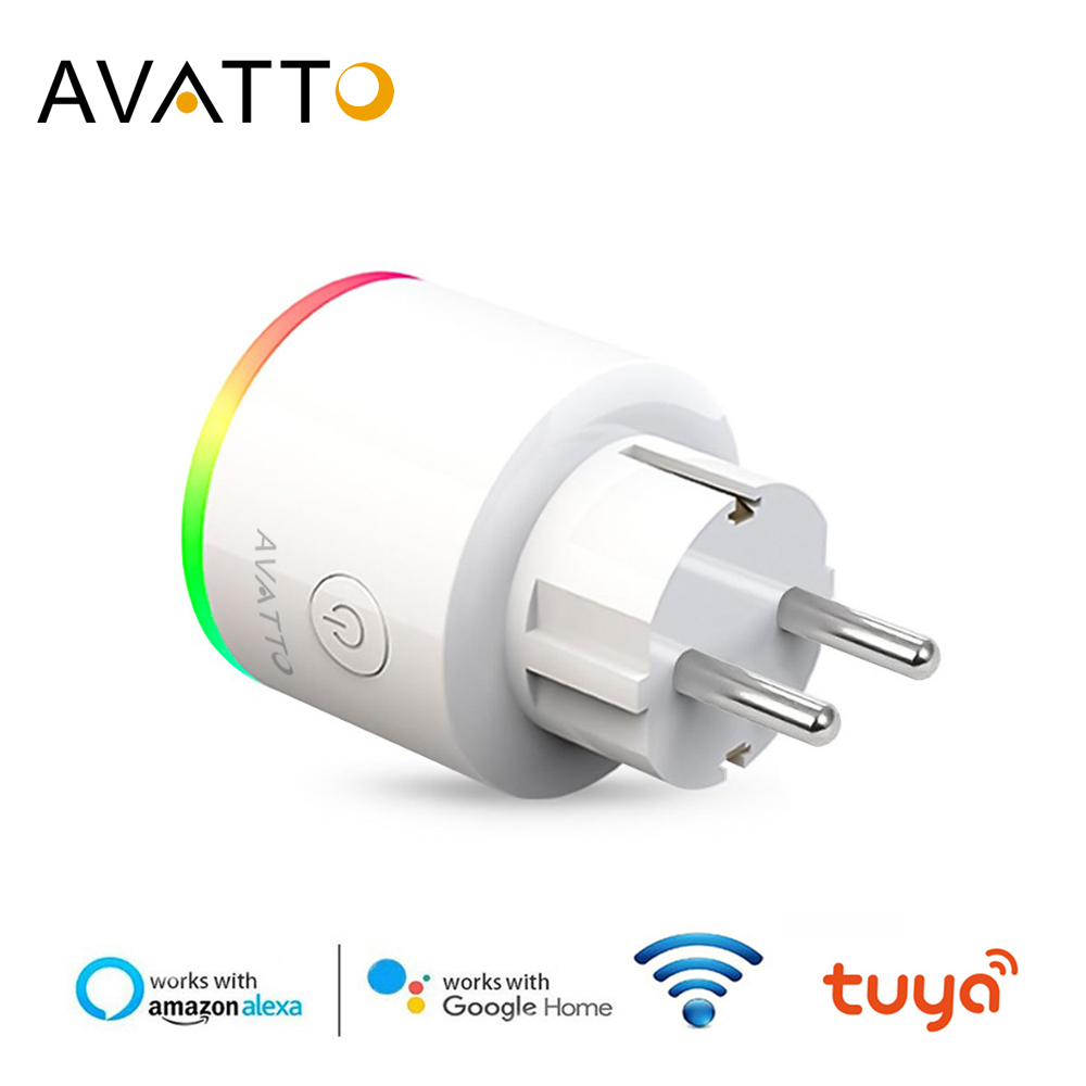 AVATTO Smart Plug Wifi Socket With Power Monitor,16A EU RGB Tuya Smart Life Outlet With Google Home Alexa Voice Remote Control