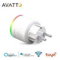 AVATTO Smart Stecker Wifi buchse mit Power Monitor, 16A EU RGB Tuya Smart Leben Outlet mit Google Home Alexa Stimme Fernbedienung