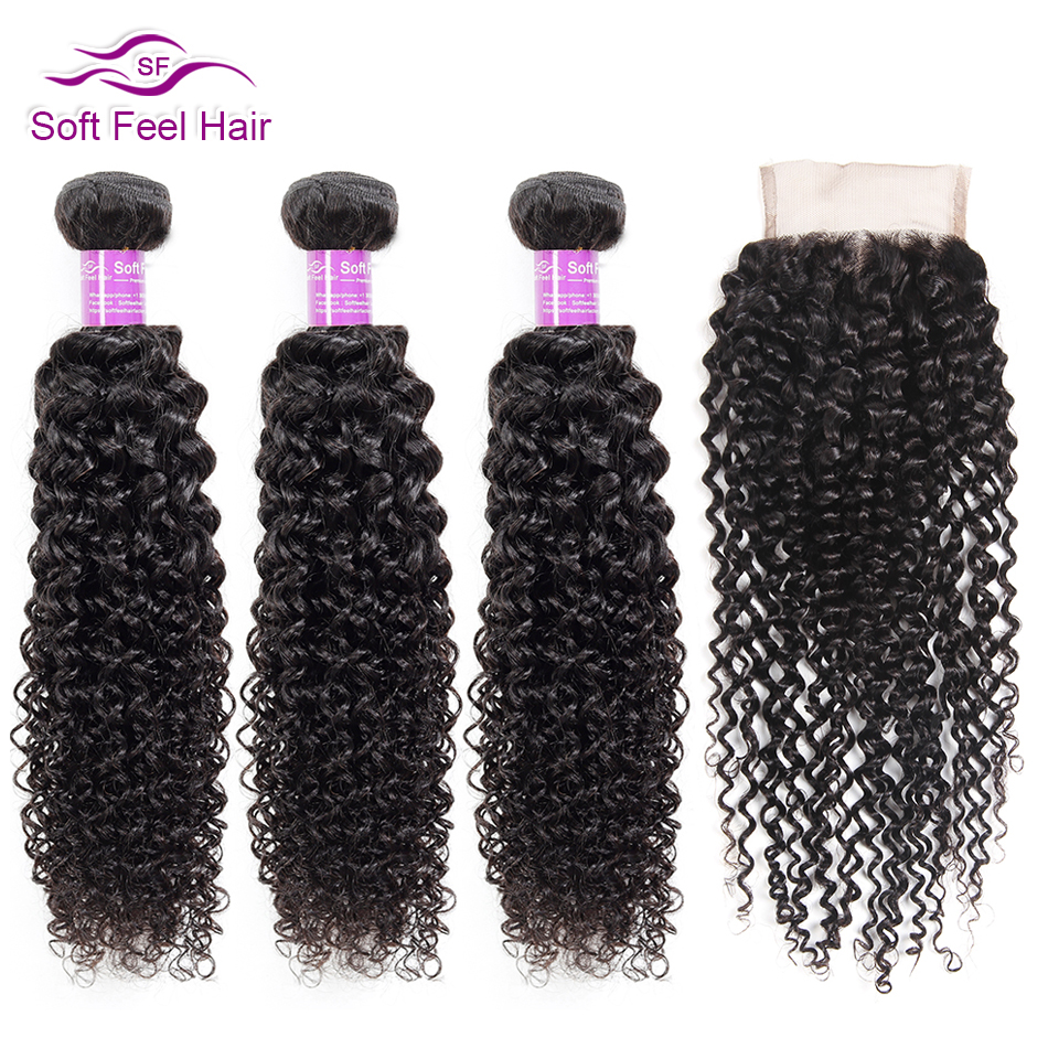 Soft Feel Hair Curly Bundles With Closure Brazilian Kinky Curly Hair With Closure Remy Weave Human Hair 3/4 Bundles With Closure-in 3/4 Bundles with Closure from Hair Extensions & Wigs