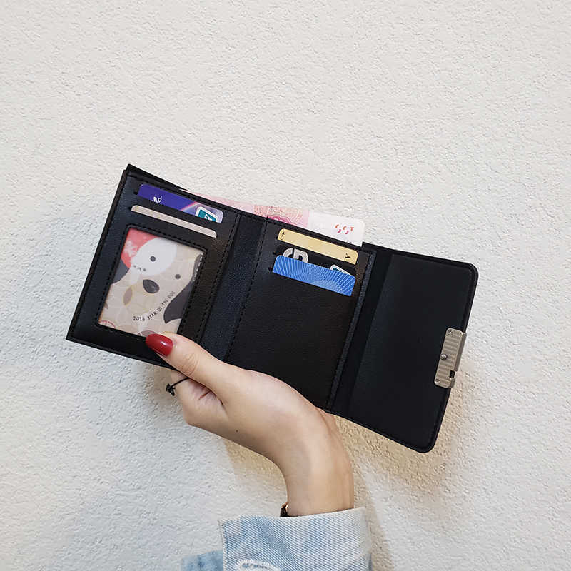 חמוד ארנקי עור נשים ארנקי אופנה קצר ארנק תלמיד מטבע ארנק כרטיס מחזיק גבירותיי מצמד תיק חתול קטן נשי ארנק