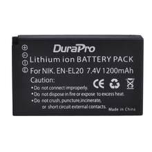 Durapro – batterie Li-ion Rechargeable, 1200mAh, 7.4V, EN-EL20 EN EL20, pour appareil photo Nikon COOLPIX A, AW, J1, J2, J3, S1, P1000