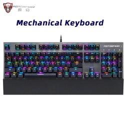 Original Motospeed CK108 104Key Mechanical Russian Keyboard Gaming Wired RGB for Gamer PC Desktop Computer Hebrew Arabic