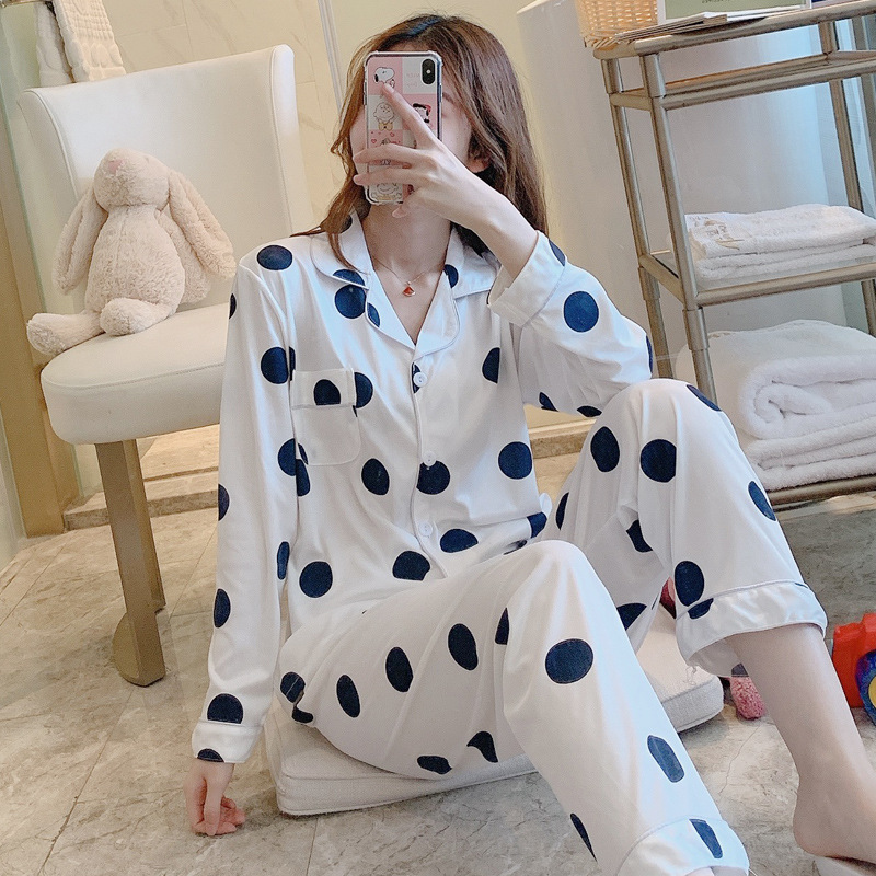 Womens Pajamas Sets Autumn Comfortable Cotton Pajama Set Girl Print Pyjama Set Long Sleeve Sleepwear Suit Women Nightshirt Sets