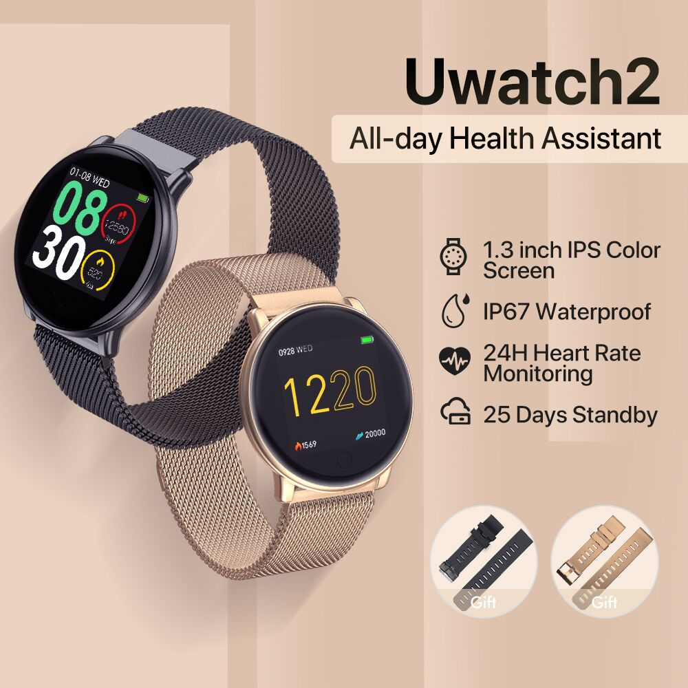 UMIDIGI Uwatch2 Relógio Inteligente Para Andriod, IOS 1.33 'Tela Sensível Ao Toque Completa IP67 25 dias de Espera 7 Esporte Modos Full Metal Unibody