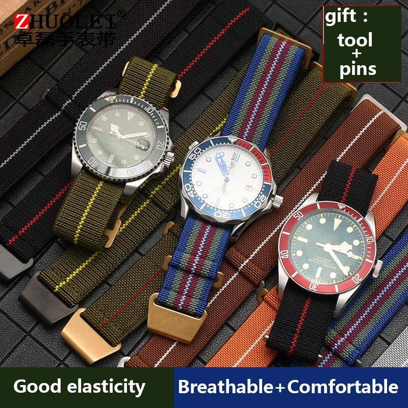 As Tropas Francesas Parachute Bag pulseira de alta qualidade para a nato Nylon Elástico Pulseira Wacth Militar Cinta Geral Cinto 20 21 22mm