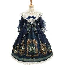 Vintage Gorgeous Dream of Arcana Women Lolita Dress OP Tea Party Cosplay Vestido Bow Lace Petal Sleeve Chiffon Dresses