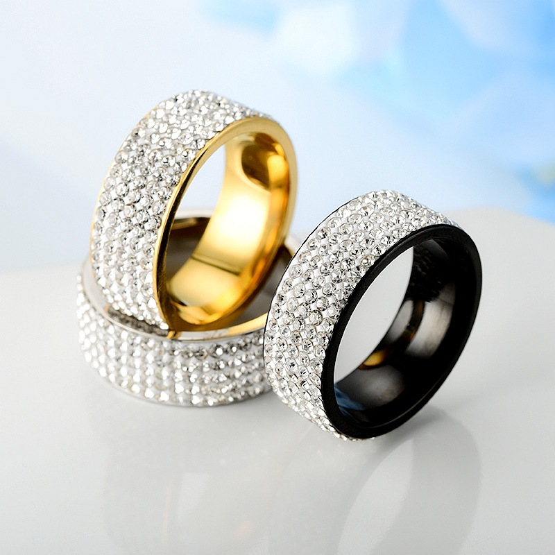 Stainless Steel Ring 5 Rows Gold Color Crystal Ring Wedding Rings for Women Men Jelwery G-144
