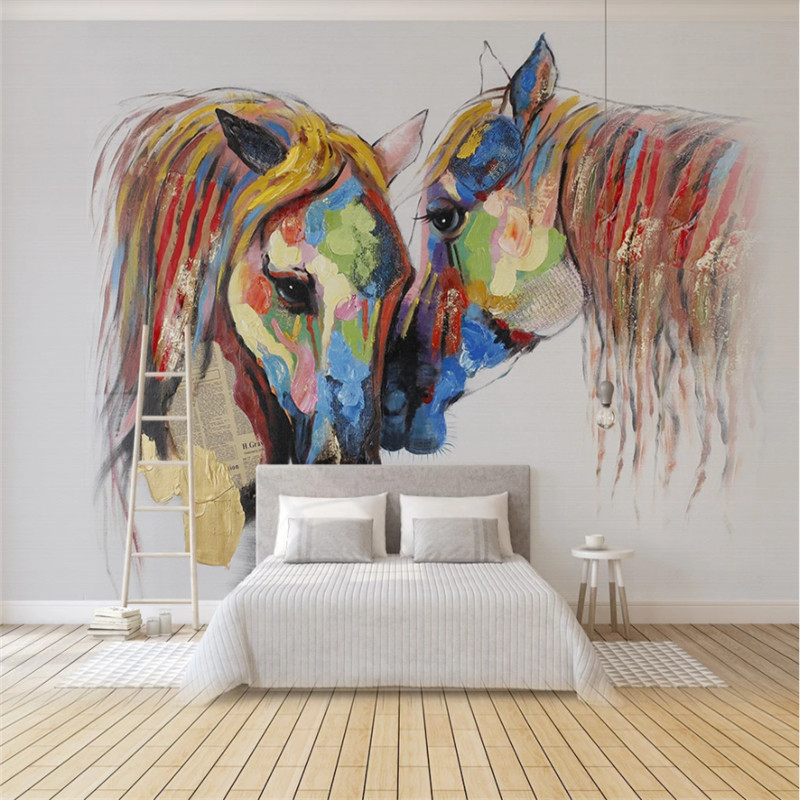 European Hand-painted Color Couple Horse Oil Painting Photo Wallpapers For Living Room Bedroom Room 3D Wall Paper Home Decor