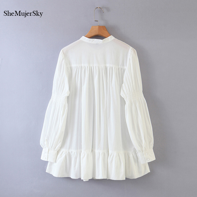 SheMujerSky White Embroidery Hollow Out Blouse Autumn O-neck Long Sleeve Tops 2020 Spliced Buttons Long Shirts blusas 4