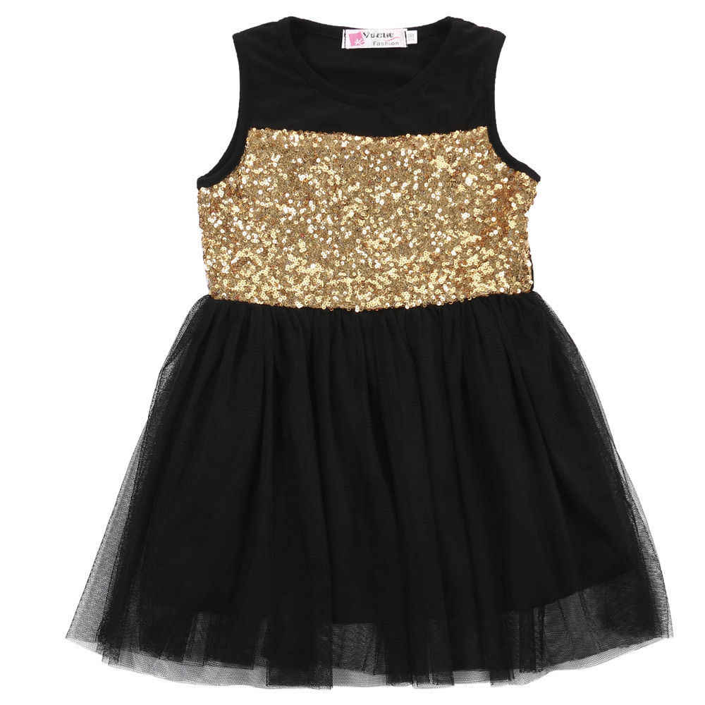 2017 New Dresses Baby Kids Girls Toddler Princess Clothing Pageant Party Black Sequined Lace Mini Gold Formal Brief Dresses