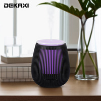 DEKAXI Black Wood carving USB air humidifier essential oil aroma diffuser electric mist maker warm night light for home bedroom