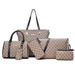 Saco das mulheres 2019 novo estilo moda diferentes sacos de tamanho seis peças conjunto simples versátil bolsa de ombro impresso novo