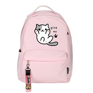 Image 2 - High Quality Neko Atsume Women Cat Backpack Kawaii Cute Bagpack Pink School Bags Cartoon Travel Backpack Laptop Daypack