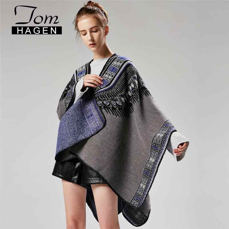 Womens Ponchos Winter Cape 2020 추상 Thicken Split Shawl Cloak 한국 롱 폰초 케이프 여성 Warm Luxury Jacket Wool Scarf