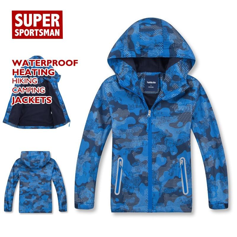 Children Sport Training Waterproof Rain Jackets Kids Boy Hiking Fleece SoftShell Windbreaker Ski Fur Coat Fitness Camping Outfit Hiking Jackets     - title=