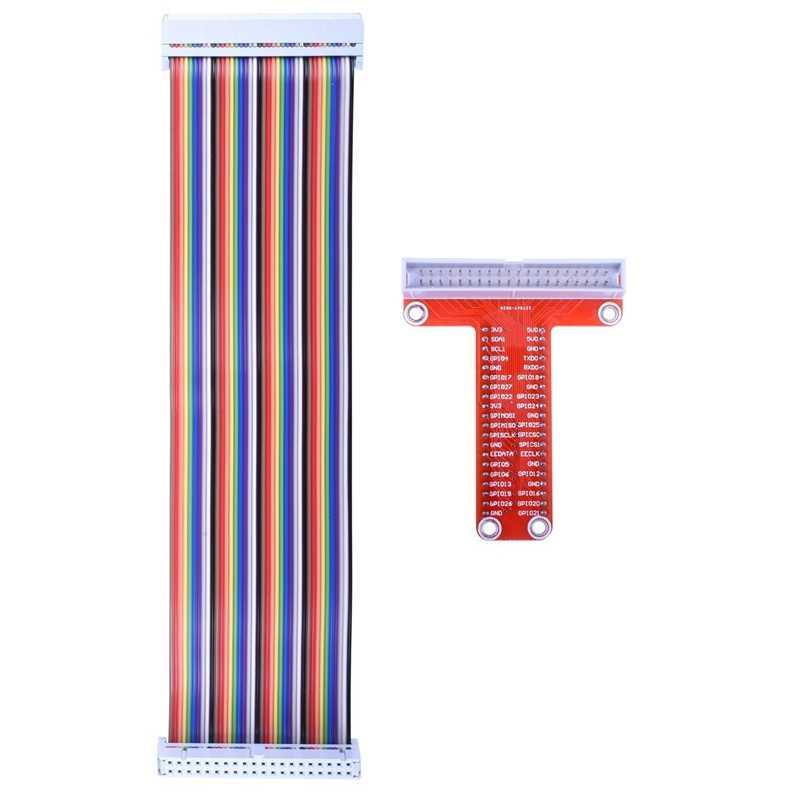 Carte d'extension de rupture RPi GPIO + câble ruban + adaptateur GPIO de Type T assemblé 20cm FC40 câble ruban plat 40pin pour framboise