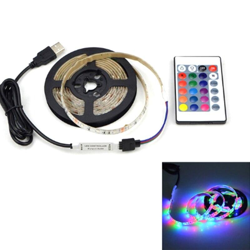 USB LED Strip Lamp DC5V Flexible LED Light Tape Ribbon 2M HDTV TV Desktop Screen Backlight Bias Lightin