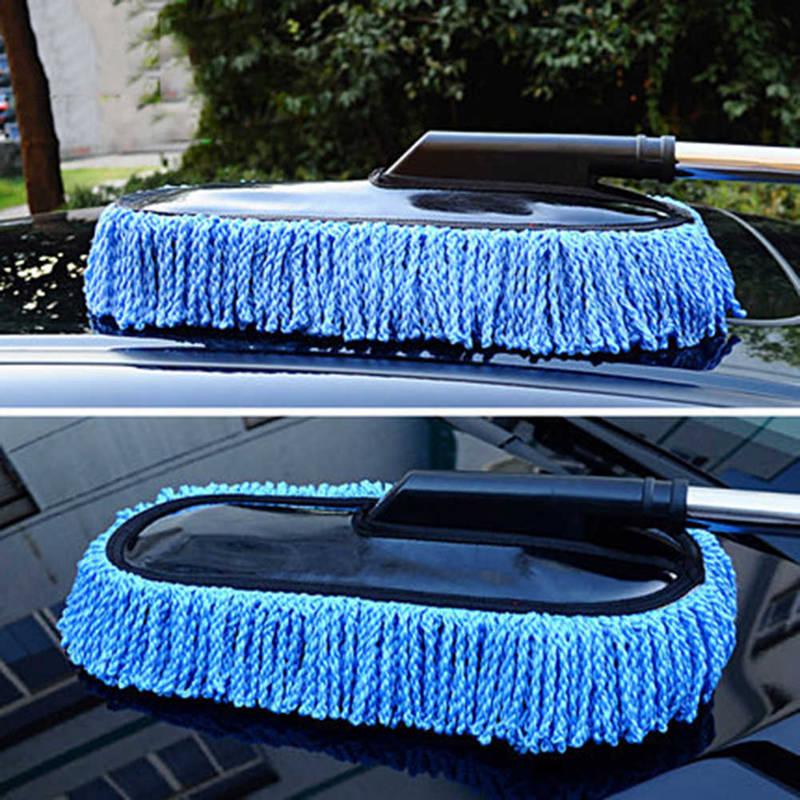 Универсальная щетка для чистки автомобиля, автомойка для окон, выдвижная микрофибра из нержавеющей стали с длинной ручкой, моющаяся мойка д...