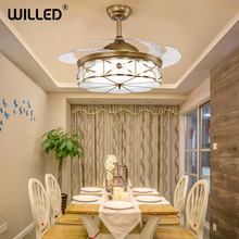 Modern Invisible Fan lights LED Ceiling Fans Acrylic Leaf 220v with Remote Control 42 Inch for Living Dining Room Bedroom cheap Willed 10kg None Modern Ceiling Fan Lamp Ceiling Fan Remote Control 352 55cm 3 years Copper Glass Wedge Modern Ceiling Fans