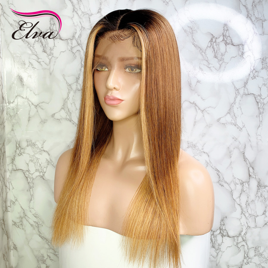 Elva 1b/30/27 Ombre Highlights Lace Front Wig Straight Brazilian Remy 13x6 Lace Front Human Hair Wigs With Baby Hair For Black
