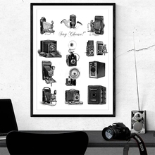 Antique Cameras Illustration Poster Prints Photography Lovers Gift Vintage Cameras Art Canvas Painting Picture Home Wall Decor cheap wall s tale Canvas Printings Waterproof Ink Still life Unframed Single PB202-191201 Spray Painting Vertical Rectangle Retro and Nostalgic Old Furniture