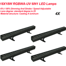 LED RGBWA UV 6IN1 Wall Washer Lamp Purple Bar 18x18W  Party Disco DJ Club Light For Landscape Wash Stage Lighting Effect Lights