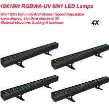 Led RGBWA UV 6IN1 Wall Washer Lamp Paars Bar 18X18W Party Disco Dj Club Licht Voor Landschap Wassen podium Verlichting Effect Lichten