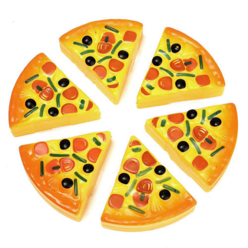 6PCS Childrens/Kids Pizza Slices Toppings Pretend Dinner Kitchen Play Food Toys New