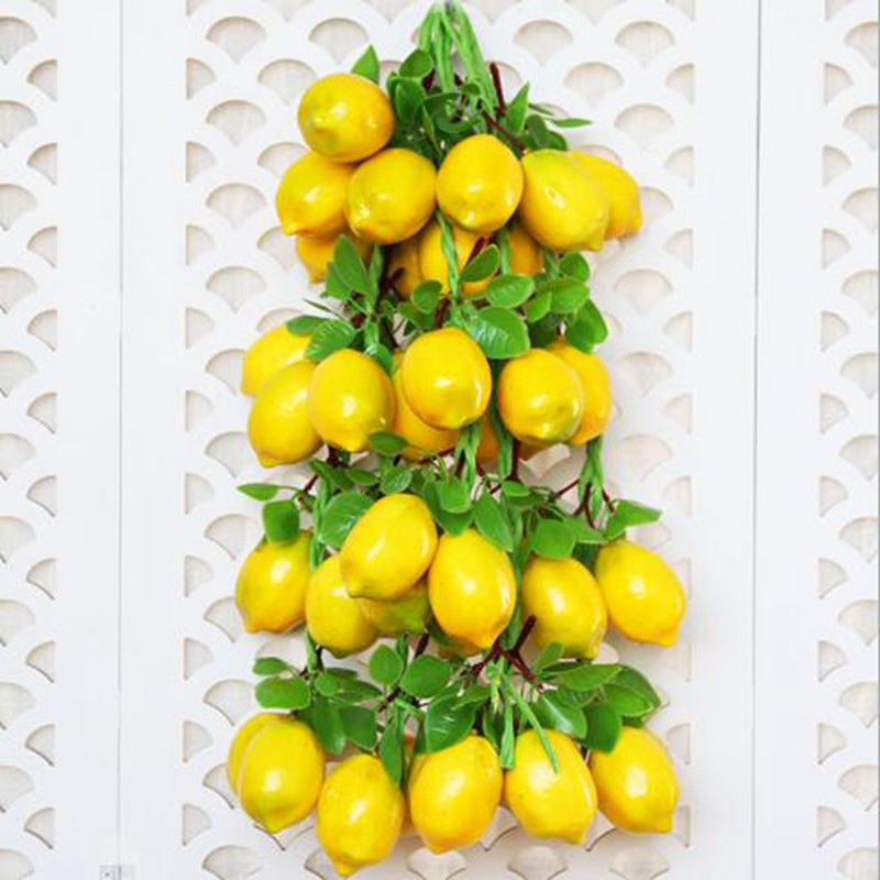 1pc Simulation Lemon Skewers Lifelike Artificial Plastic Fake Fruits Imitation Props Home Party Decoration LWW1119