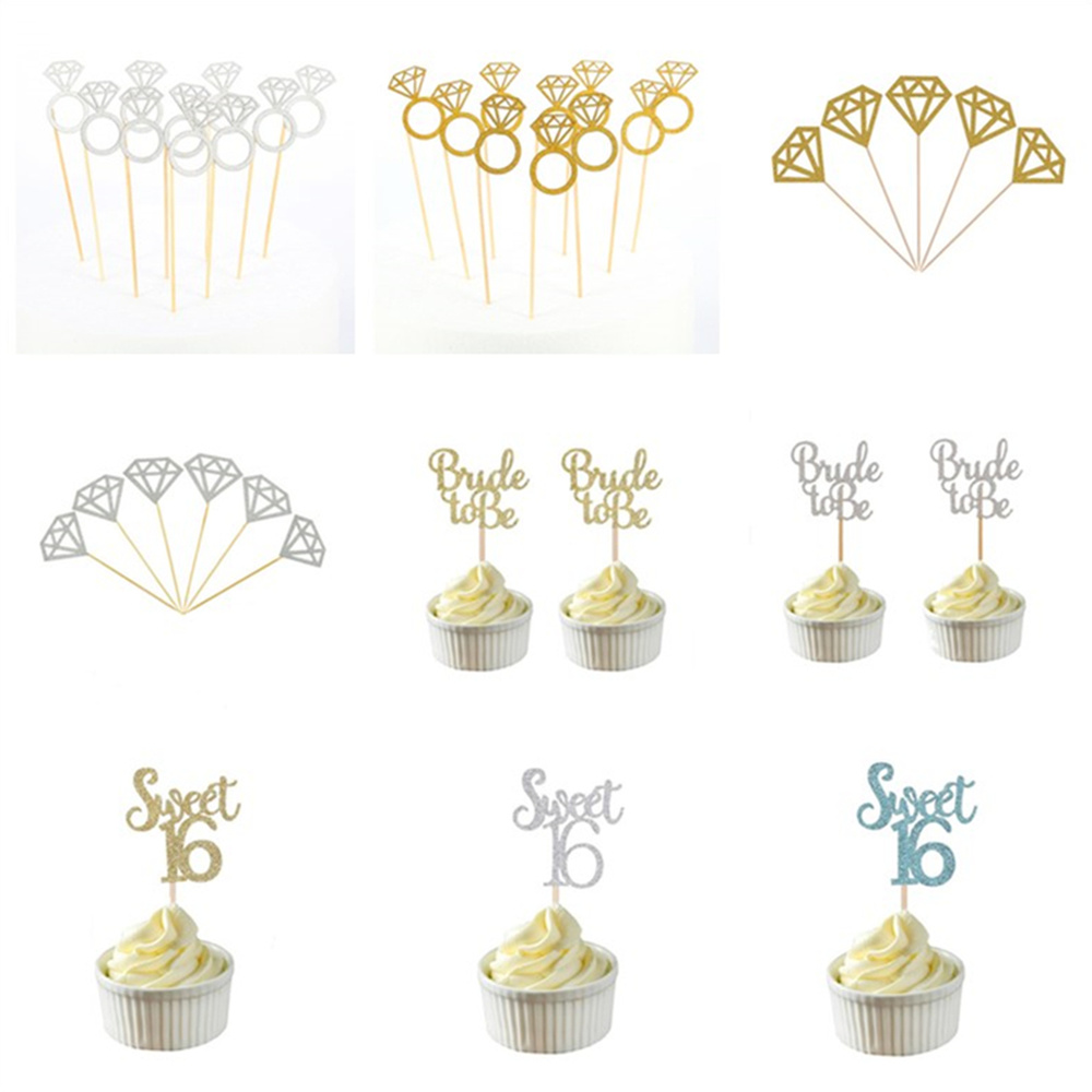 Bachelorette Party Cake Decoration Supplies 10pcs Gold & Silver Glitter Bride To Be Cupcake Toppers Bridal Shower Wedding Decor