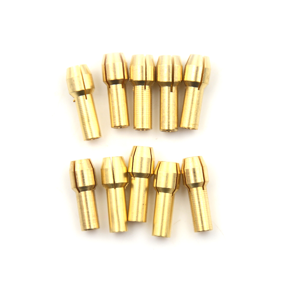 10PC/Set 0.5-3.2mm Copper Small Electric Drill Bit Collet Micro Twist Chuck Adapter Power Hand Rotory For DIY Tools Convenient