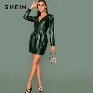 Image 5 - SHEIN グラマラスブラック冥衣ラップベルト付き Pu レザードレス女性秋冬長袖ハイウエスト鉛筆ショートドレス