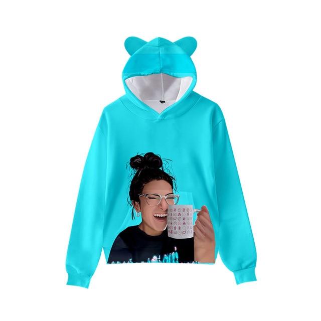 3D Print Charli D'Amelio Hoodies Boys/Girls Cat ears Hip hop Kpop Sweatshirts Hooded Autumn Winter Charli Damelio Merch Tops 3