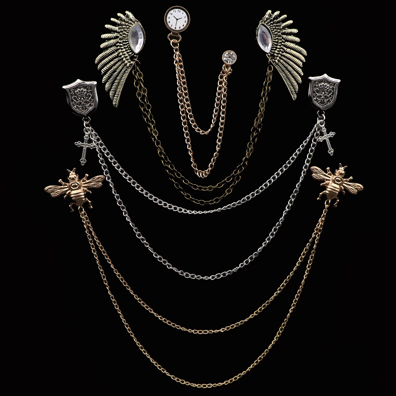 New Men Women Shirt Collar Tassel Chain Lapel Pin Brooch Dragon Eagle Deer Head Wings Badge Retro Unisex Jewelry Accessories
