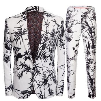Fashion Three-Color Suit Romantic Wedding Suits for Men 2 Pieces Set Latest Coat + Pant Designs Wedding Stage Singer Costume