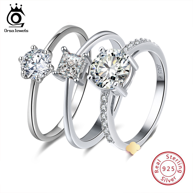 ORSA JEWELS Real 925 Sterling Silver Women Solitaire Rings Cubic Zircon Female Wedding Ring Fashion Jewelry For Any Party SR116