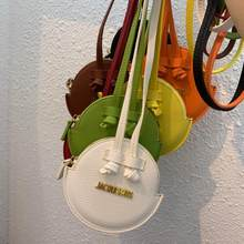 Petit sac à bandoulière en cuir PU pour femmes, mini sac rond de luxe, sac à main de styliste en cuir PU