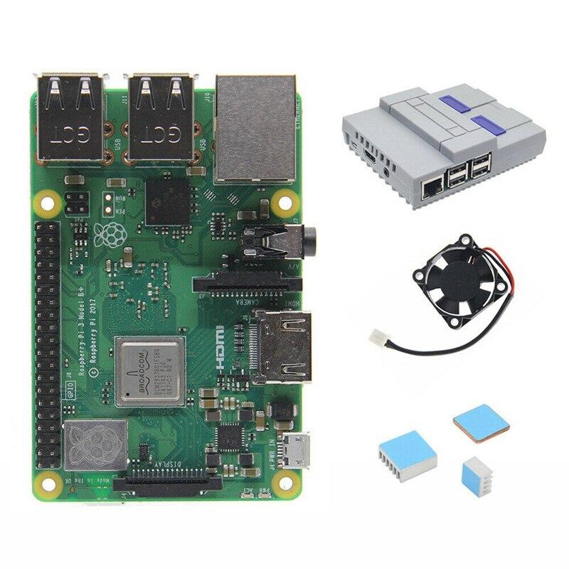 4 en 1 Raspberry Pi 3 modèle B + (Plus) carte + Mini Nes Style boîtier/boîtier + ventilateur de refroidissement + dissipateurs