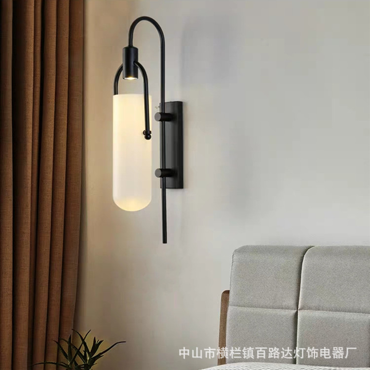 Postmodern Nordic art simplicity bedroom wall lamp sitting room background wall, wall lamp, wrought iron wall lamp