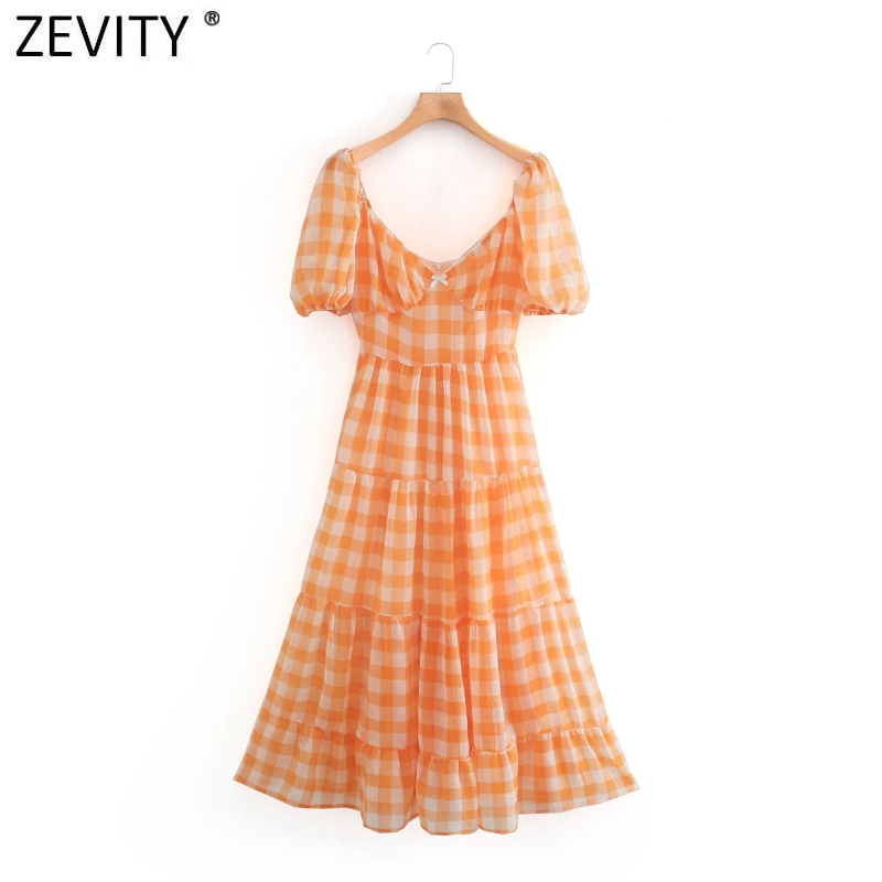 Zevity Women elegant v neck plaid print midi dress Ladies retro puff sleeve pleat ruffle vestido chic back zipper Dresses DS4176