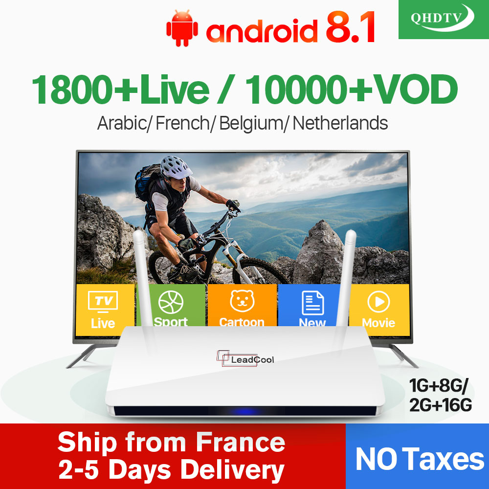QHDTV 1 Year IPTV France Arabic Leadcool Europe Arabic IPTV Box French Belgium Dutch Netherlands Smart Android IP TV Set Top Box