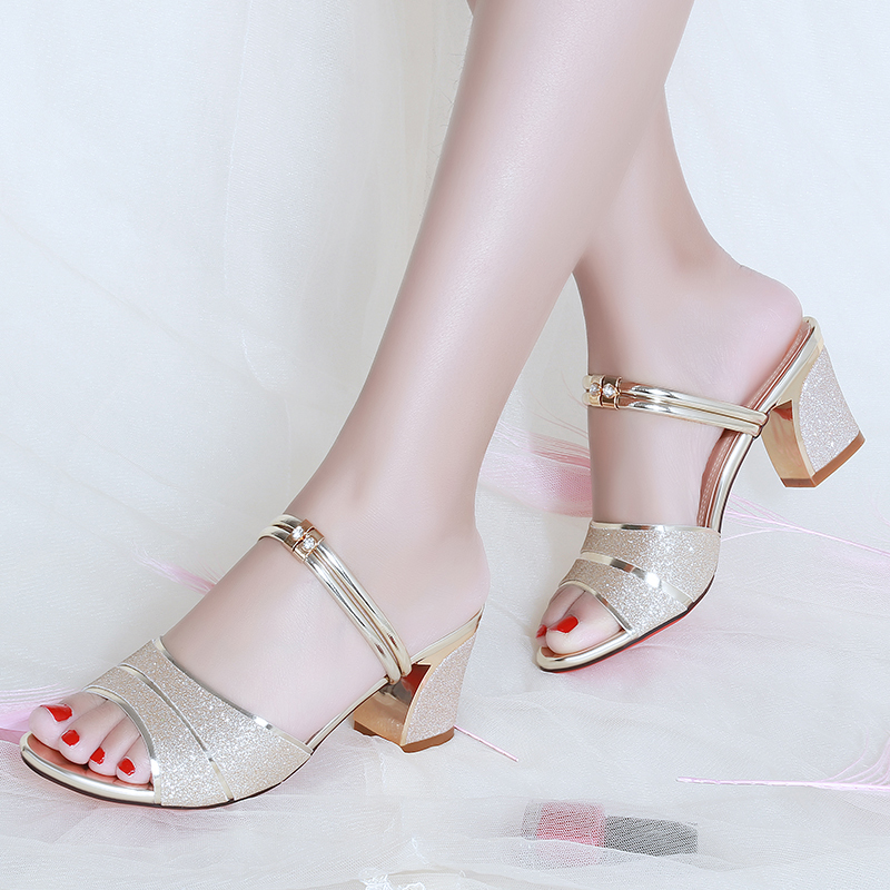 Women Slippers 2020 Summer Shoes Woman Sandals Silver Wedding Shoes Bling Slides Square Heeled Slipper Gold Sandalias Mujer 7247