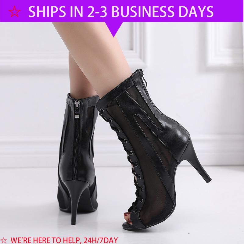 Elegant Jazz Salsa Ballroom Outdoor Practice Latin Dance Shoes for Dancing Women Newmen Stylish High Heel Mesh Boots Black